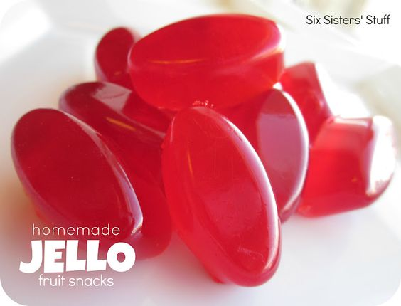 Oh my!!!  Much cheaper than fruit snacks too!!!  Homemade Jello Fruit Snacks - Only 3 ingredients