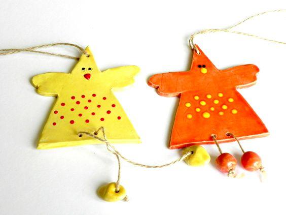 Easter Decoration Set of 2 Ceramic Chickens Yellow Orange Pottery. $23.00, via Etsy.