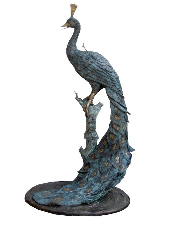 PEACOCK ON BRANCH - Bronze sculpture; Dimensions: L67 x W52 x H126 cm; PRICE: Rs 125000/-;  Buy Now : http://tfrhome.com/landing/productlandingpage.php?product_code=sc-22