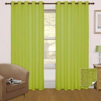 Green Thermal Blackout Eyelet Curtain Pair, 66 x 72