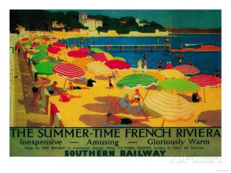 Summertime French Riviera Vintage Poster - Europe Impressão artística