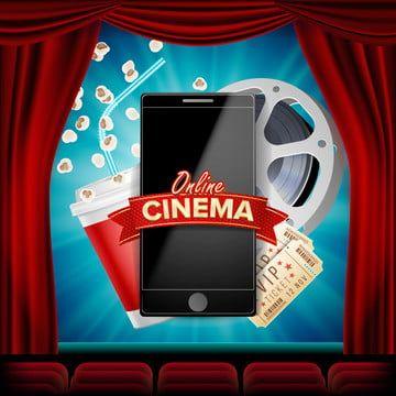 راية ناقلات السينما عبر الإنترنت مع الهاتف المحمول ستارة حمراء ثلاثية الأبعاد للسينما عبر الإنترنت لشبكة الاستشارات الإعلانية ملصق نشرة إعلانية صناعة الأفلام ال Red Curtains Cinema Flyer
