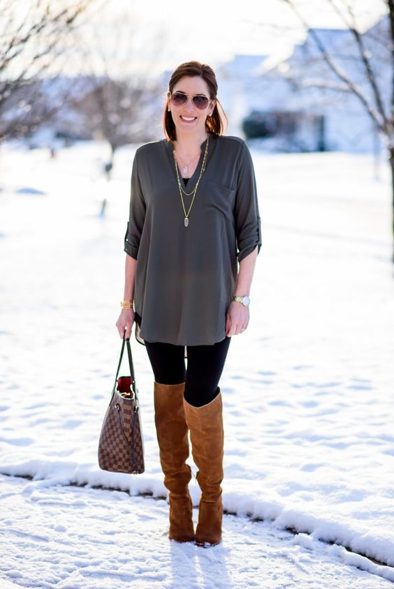 Hello, friends. Happy Hump Day! I'm back with another easy outfit formula for women on the go! Cyndi and I are both styling leggings with a tunic and tall boots. This is a basic outfit formula that almost anyone can wear. The key is to make sure your tunic is long enough to cover your lady parts, …