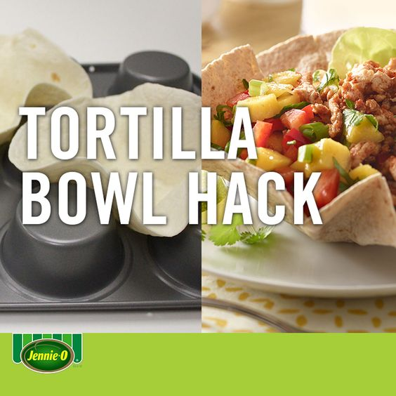 Use an upside down muffin tin to make taco bowls. We love this idea because they're baked instead of fried! | Life hacks | Back to School |#JennieO #sweepstakes #howto #hack #taconight