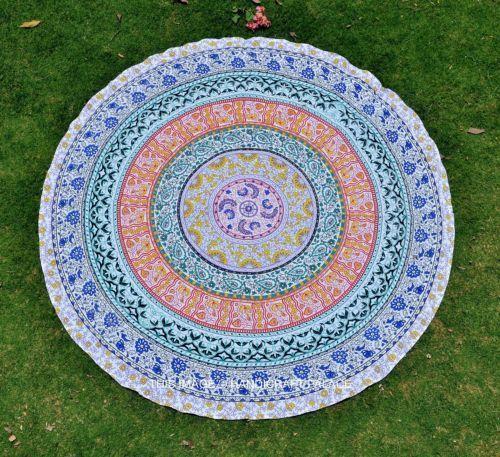Amazing peacock round beach towel, roundie mandala picnic blanket, yoga mat..  #Handmade