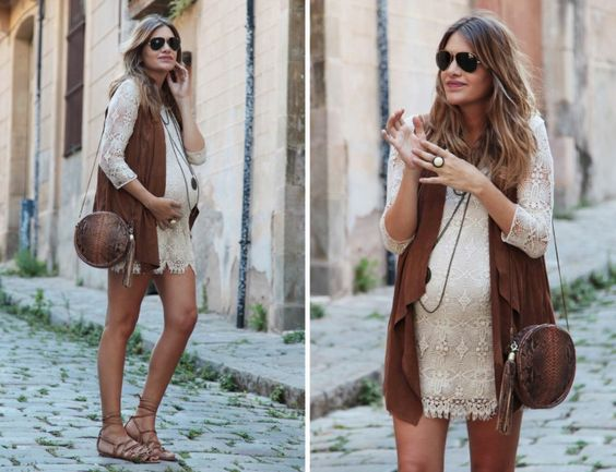 Boho maternity outfit with lace.