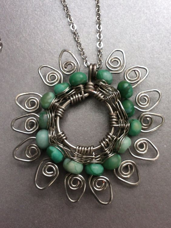 Jasper Wire Wrapped Necklace
