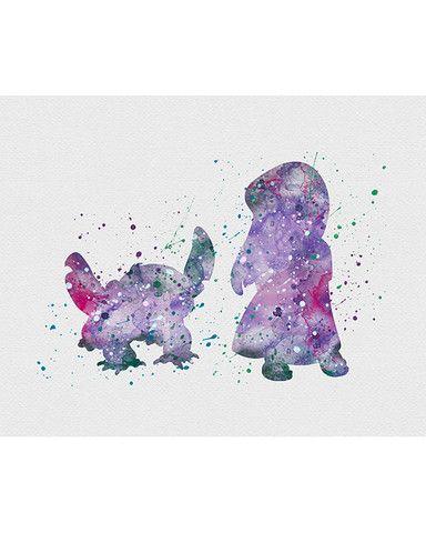 Lilo And Stitch Pelekai Watercolor Art Kids Game Room