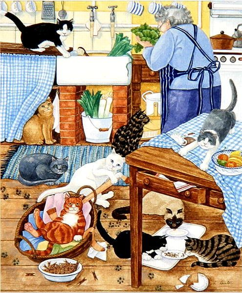 Grandma and 10 cats in the kitchen Posters & Art Prints by Linda Benton: