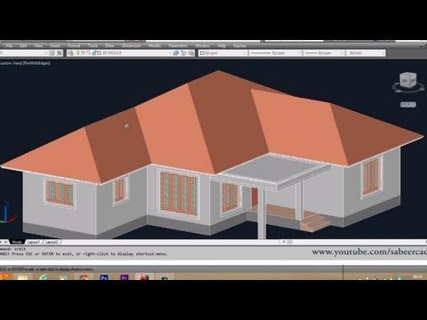 Autocad 3d House Part6 Sloped Roof Autocad Sloped Roof 3d Roof Youtube Roof Design Roof Repair Cost Roofing