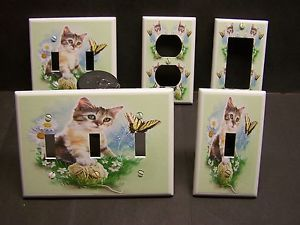Kitten with Butterfly Daisies Tiger Cat Light Switch or Outlet Cover V417 | eBay