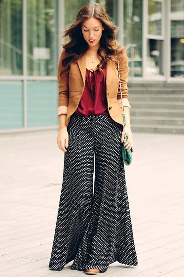 Plazzo pant with a brown jacket and red top a casual professional bohemian retro style five Retro style fashion for muslimah