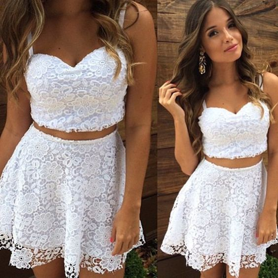 Two piece set women summer casual white lace dress: