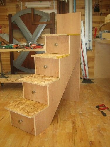 How to make drawer pull men bunk bed 6 building the stairs and installation by patrick - Bunk bed with drawer steps ...