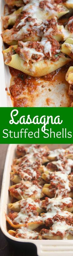 Lasagna Stuffed Shells- noodles filled with a cheesy lasagna filling and topped with extra sauce and cheese.   Tastes Better From Scratch