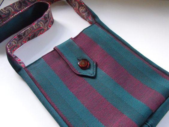 Handmade striped purse with blown glass button, b-015 by riverhouseglassart on Etsy