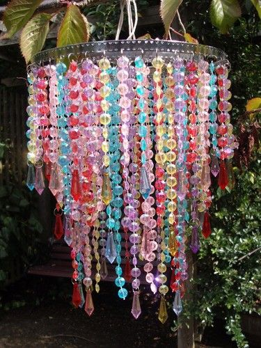 Curtains Ideas beaded curtains at walmart : Pretty 3 Tier Multi Colour Beaded Chandelier Lightshade | Girls ...