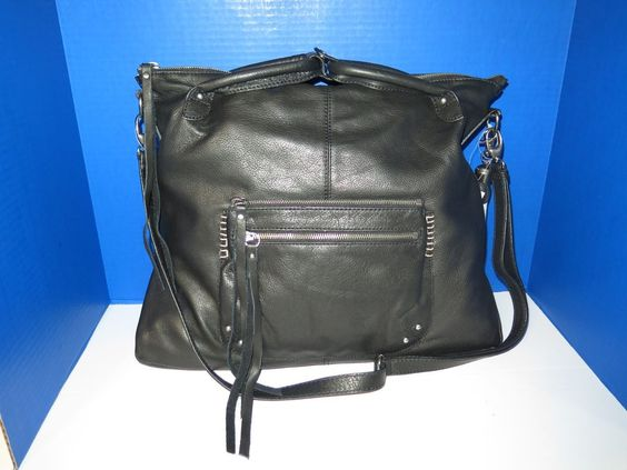 NEW LUCKY BRAND Del Rey Black Leather Hobo Shoulder Crossbody Bag Tote LB1011 #LuckyBrand #HoboCrossbody