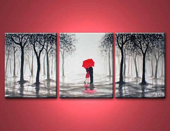 Kiss In Rainlove Coupleblack White And Redlarge Original Abstract Painting48x20 Inchon