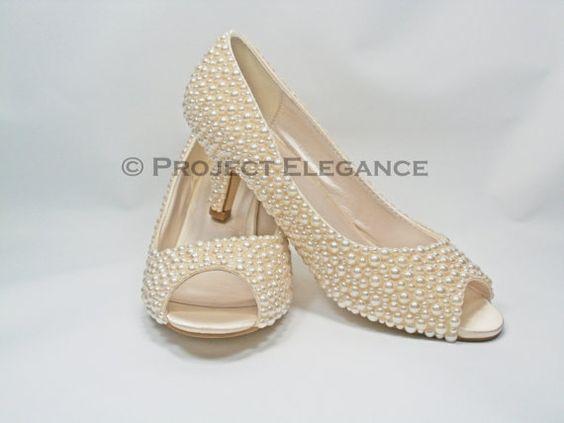 """Bella - Ivory Pearl Peep Toe 2.2"""" Inch (6cm) Mid Low Kitten Heel ..."""