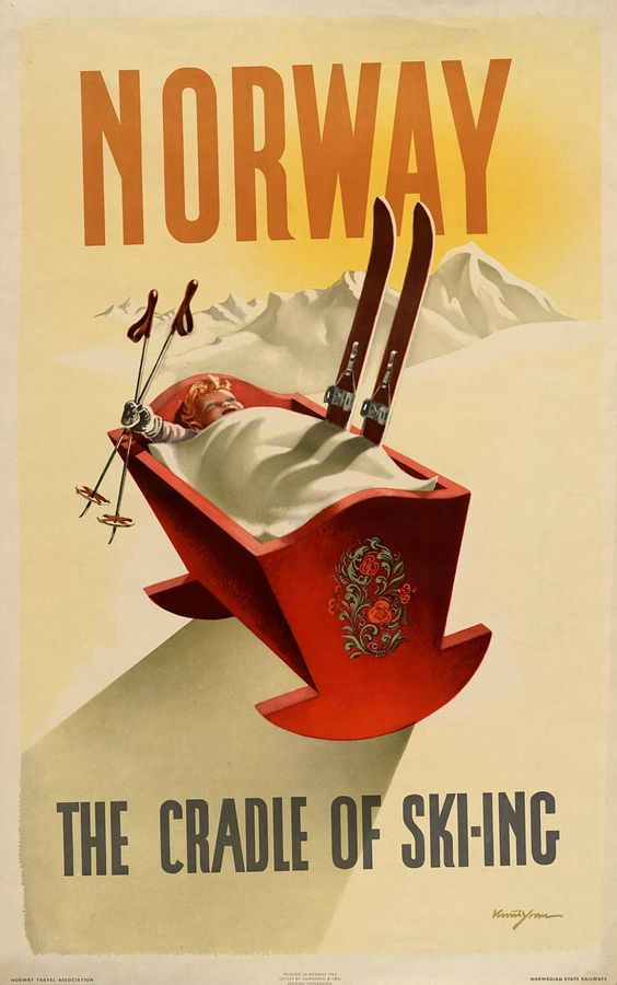 "Poster Norway ""Baby born with skis"""