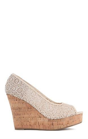 Deb Shops Peep Toe Crochet Heel with Cork Platform Wedge $27.67