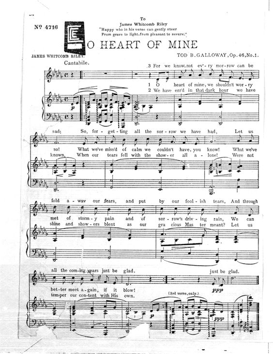 O' Heart of Mine, composed by Tod B. Galloway, 1905. Galloway was educated at Amherst College and became a lawyer, then probate judge, and subsequently the secretary to the governor of Ohio. During World War I, he was a YMCA entertainer in France. C. C. Easley Microfilm Collection.  International Guitar Research Archive.: Microfilm Collection, Probate Judge, Lawyer, Digital Collections