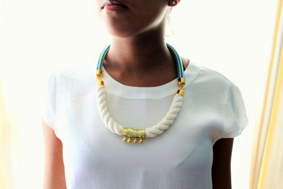 Nautical Rope White, Blue and Green with Gold Statement Necklace