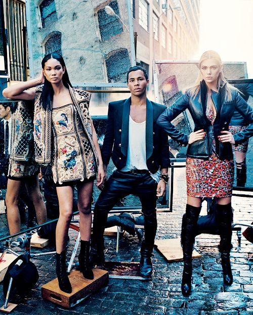 Chanel Iman,Olivier Rousteing of Balmain, and Kate Upton for Vogue September 2012