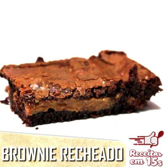 Brownie recheado com doce de leite » Receitas em 15 Segundos