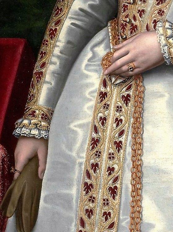 "Detalle del ""Retrato de una joven dama"" (1560-1565). Sofonisba Anguissola (1532-1625)."