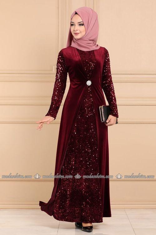 Modaselvim Abiye Broslu Kadife Tesettur Abiye 3123ab368 Bordo The Dress Boncuk Elbise Moda Stilleri