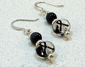 Black Ribbon Melanoma Cancer Awareness Beaded Earrings... I already have the ring to match these