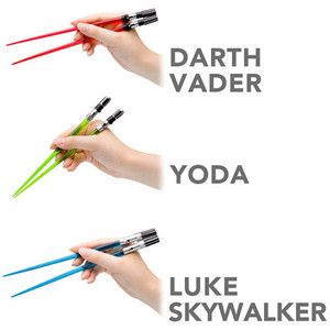 OK, I'm a geek.  Need these Star Wars light saber chopsticks!