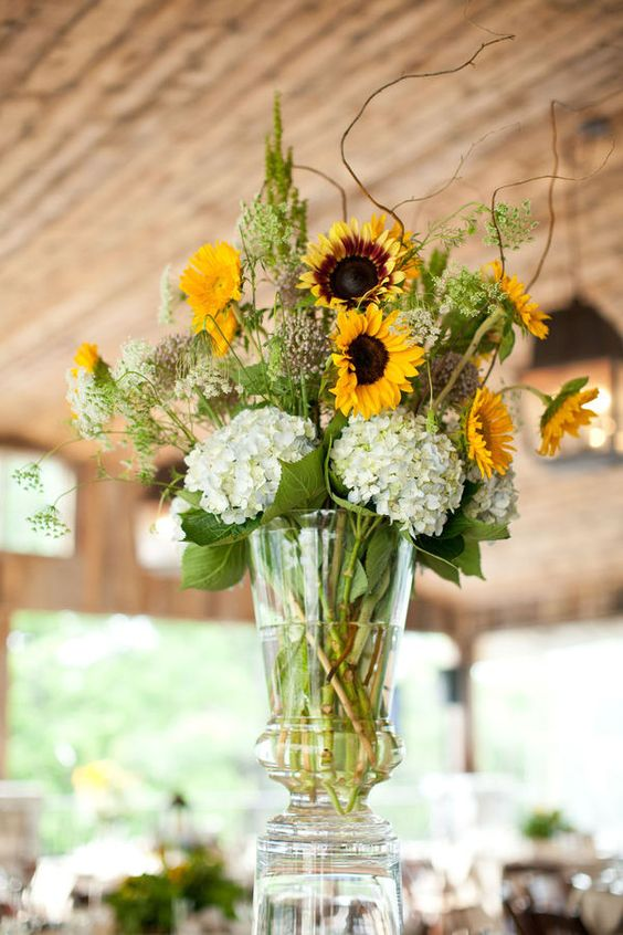 Sunflowers hydrangeas and centerpieces on pinterest