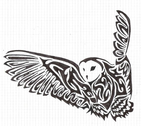 I want this on my shoulder!  Tribal owl by fensterfisch.deviantart.com