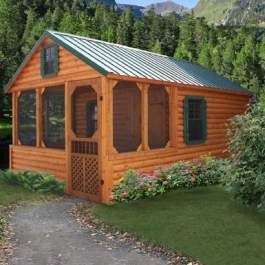 Log cabin homes front porches and log cabin modular homes for Prefab screened porches