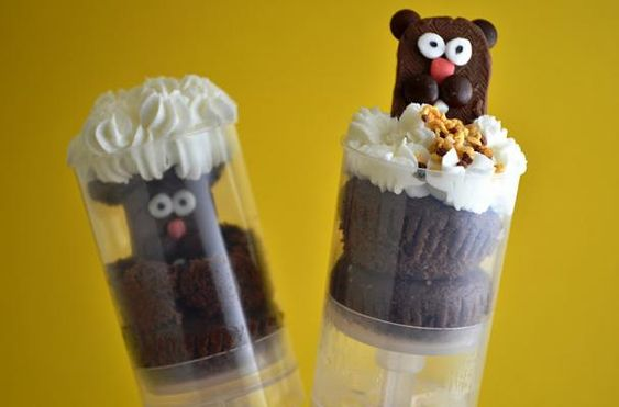 Too cute! Groundhog Day cupcake push pops