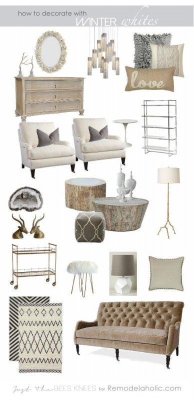 Tips on decorating with winter whites from Just The Bees Knees for Remodelaholic.com #moodboard #white #decorating: