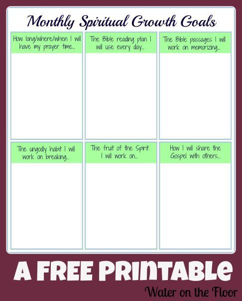 Monthly Spiritual Growth Goals Free Printable For The Family