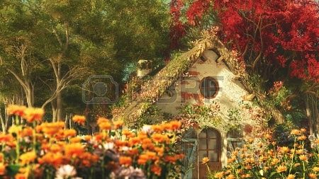 3D computer graphics of a late summer landscape with garden cottage Stock Photo - 22348196