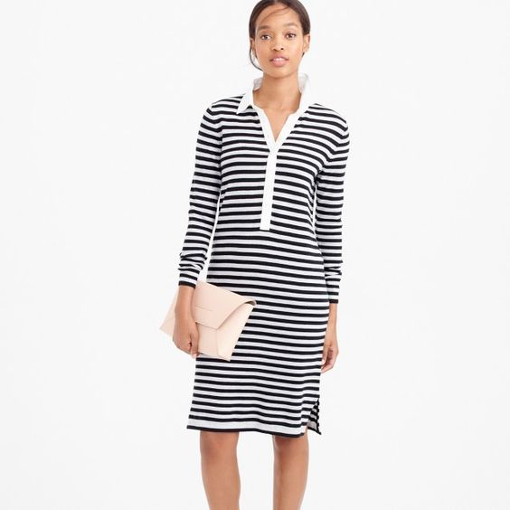 Striped polo sweater-dress in merino wool:
