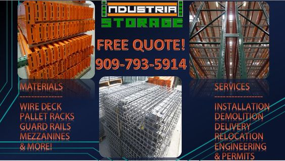 Our clients range from factory warehouses to large food distribution plants and statewide industrial businesses who are striving to get custom industrial material at an affordable rate, call us for more information and a free estimate, 909-793-5914 you can also visit our website at www.industrialstoragesolutionsinc.com