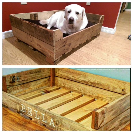 Dog beds made from pallet wood cool home stuff for Wood pallet dog bed