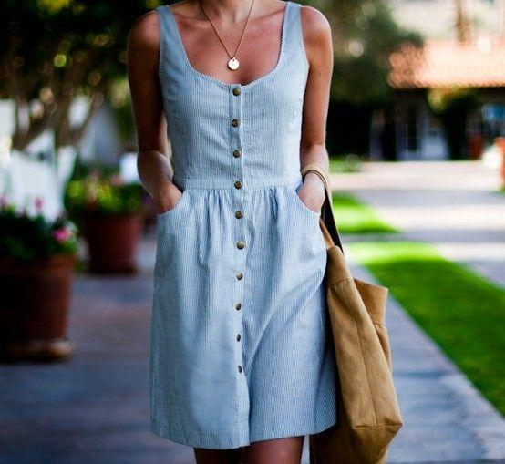 blue striped brass button down dress
