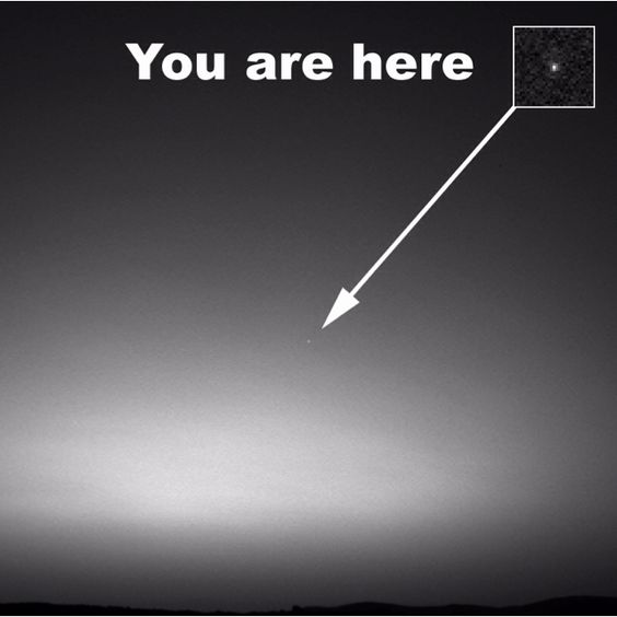 View of Earth taken from Mars. We're just another star on the sky!