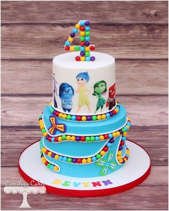 Beautiful Inside Out birthday cake. We love this for a summer birthday party!
