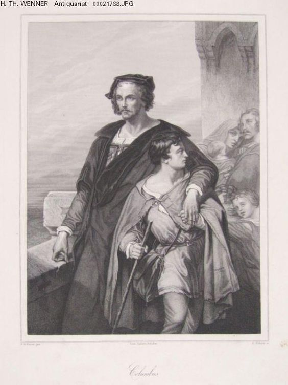 Columbus Kolumbus Begleiter Turm Meer Stahlstich Schuler Gemälde Nicaise Keyser