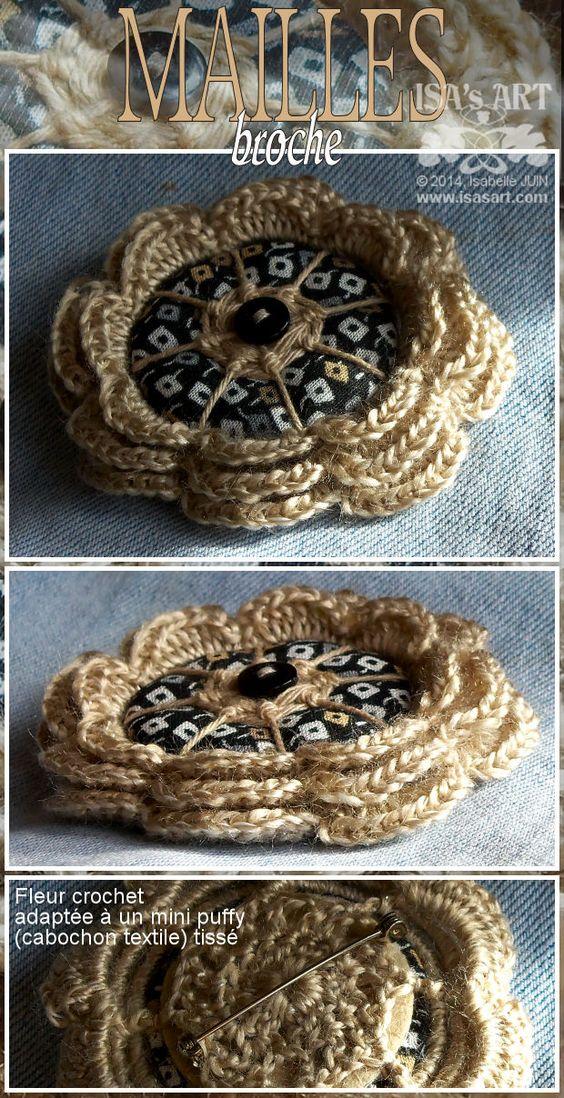 ISA'sART: FLOWER - Broche (MINI PUFFY tissé et fleur au crochet)