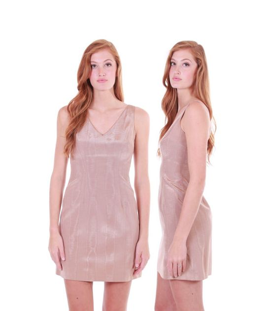 90s vintage Cynthia Rowley nude beige mini dress. Truly gorgeous color and…